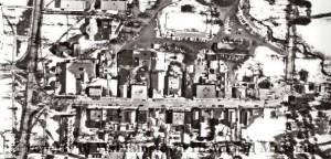 Aerial view of Spring Street, Williamstown, MA taken between 1953 & 1962